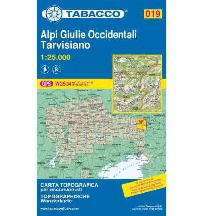 Cartina Tabacco 019.Carta Topografica Tabacco N 019 Alpi Giulie Occidentali Tarvisiano 1 25 000