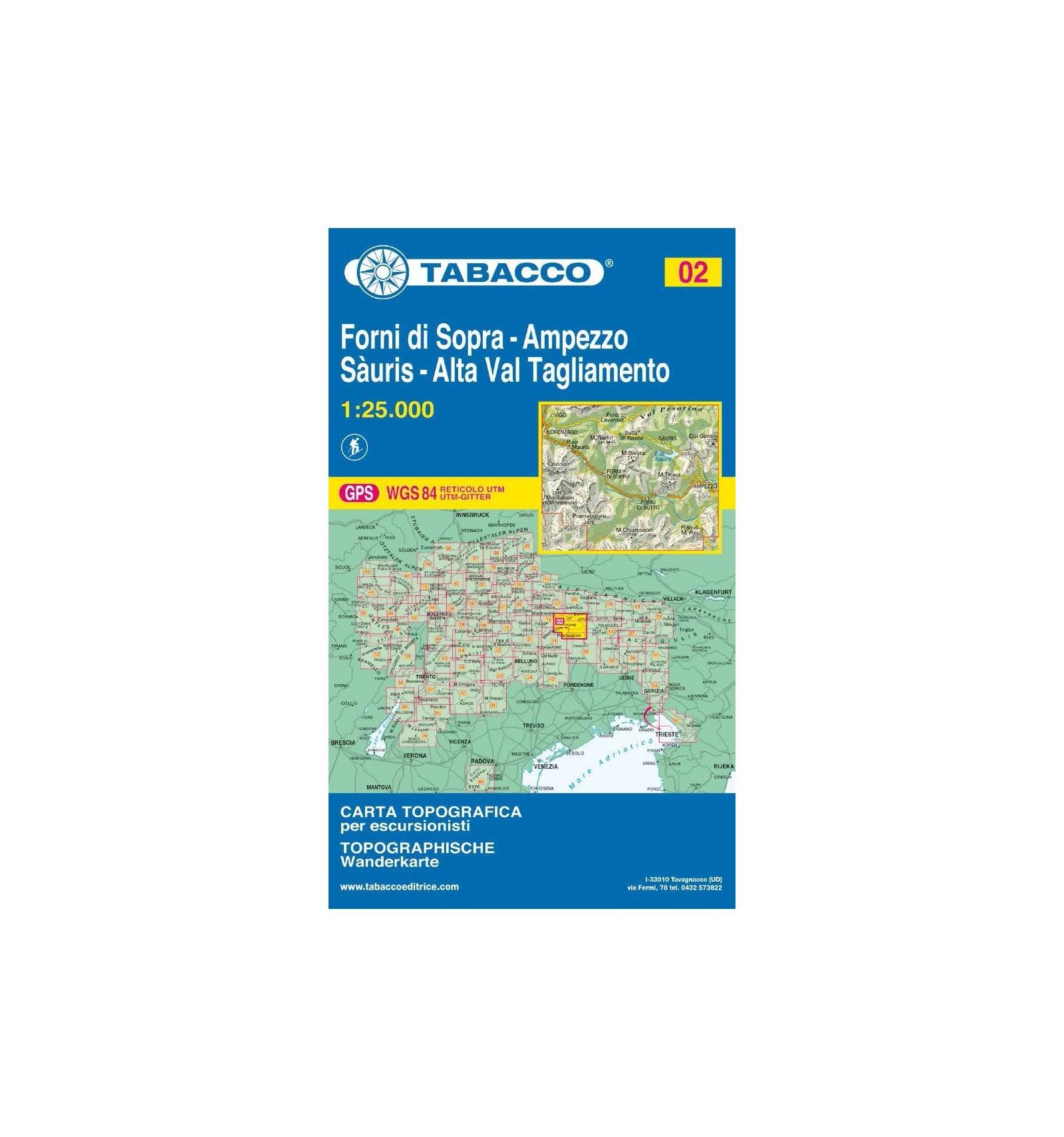 Cartina Tabacco 024.Carta Topografica Tabacco N 02 Forni Di Sopra Ampezzo Sauris 1 25 000