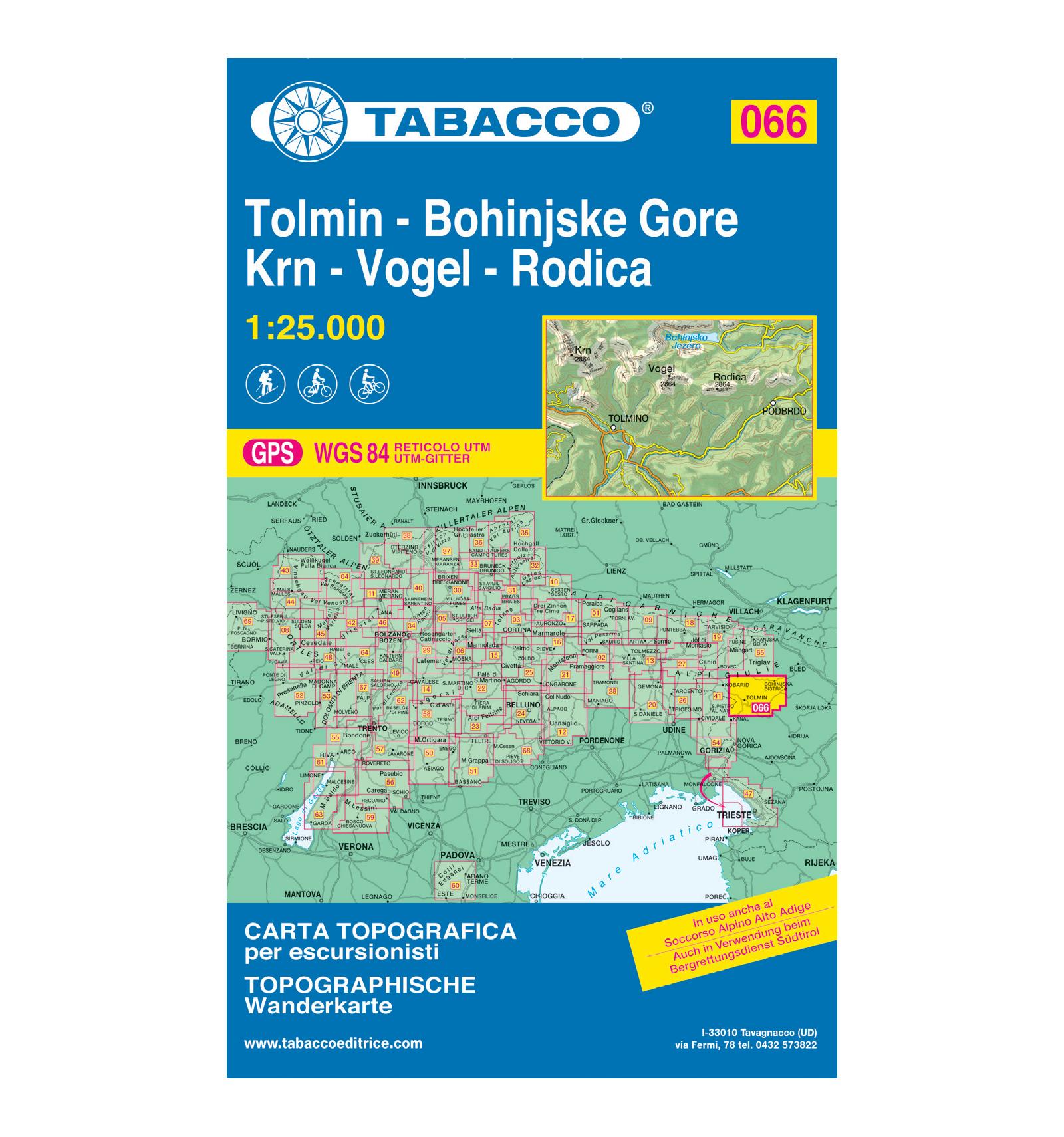 Cartina Tabacco 019.Carta Topografica Tabacco N 066 Tolmin Bohinjske Gore Krn Vogel Rodica 1 25 000