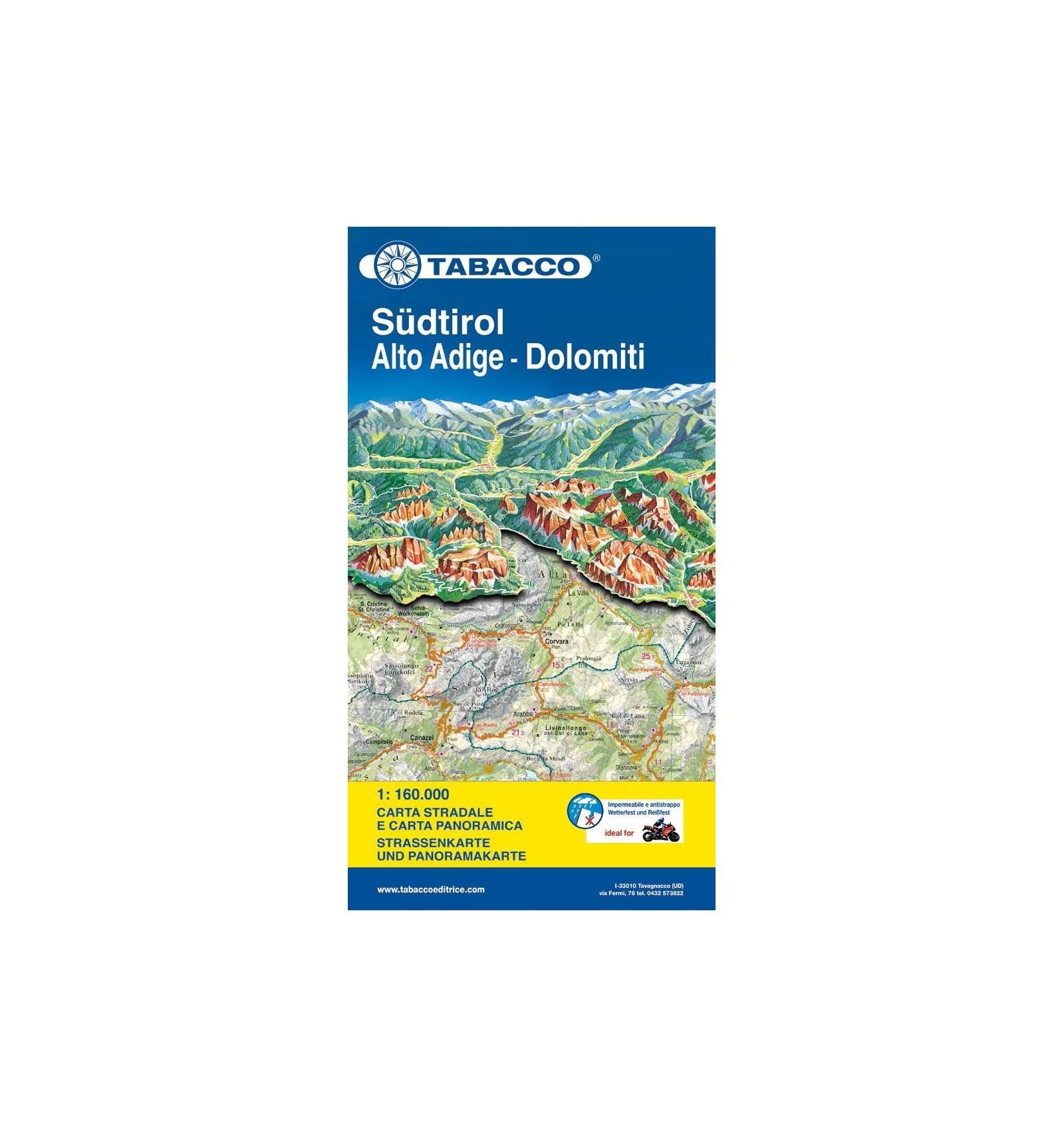 Cartina Geografica Dolomiti.Tabacco Carta Stradale E Panoramica Alto Adige Dolomiti 1 160 000