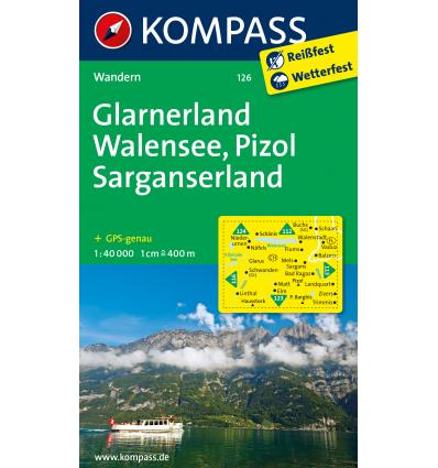 Glarnerland, Walensee, Pizol, Sarganserland 1:40.000