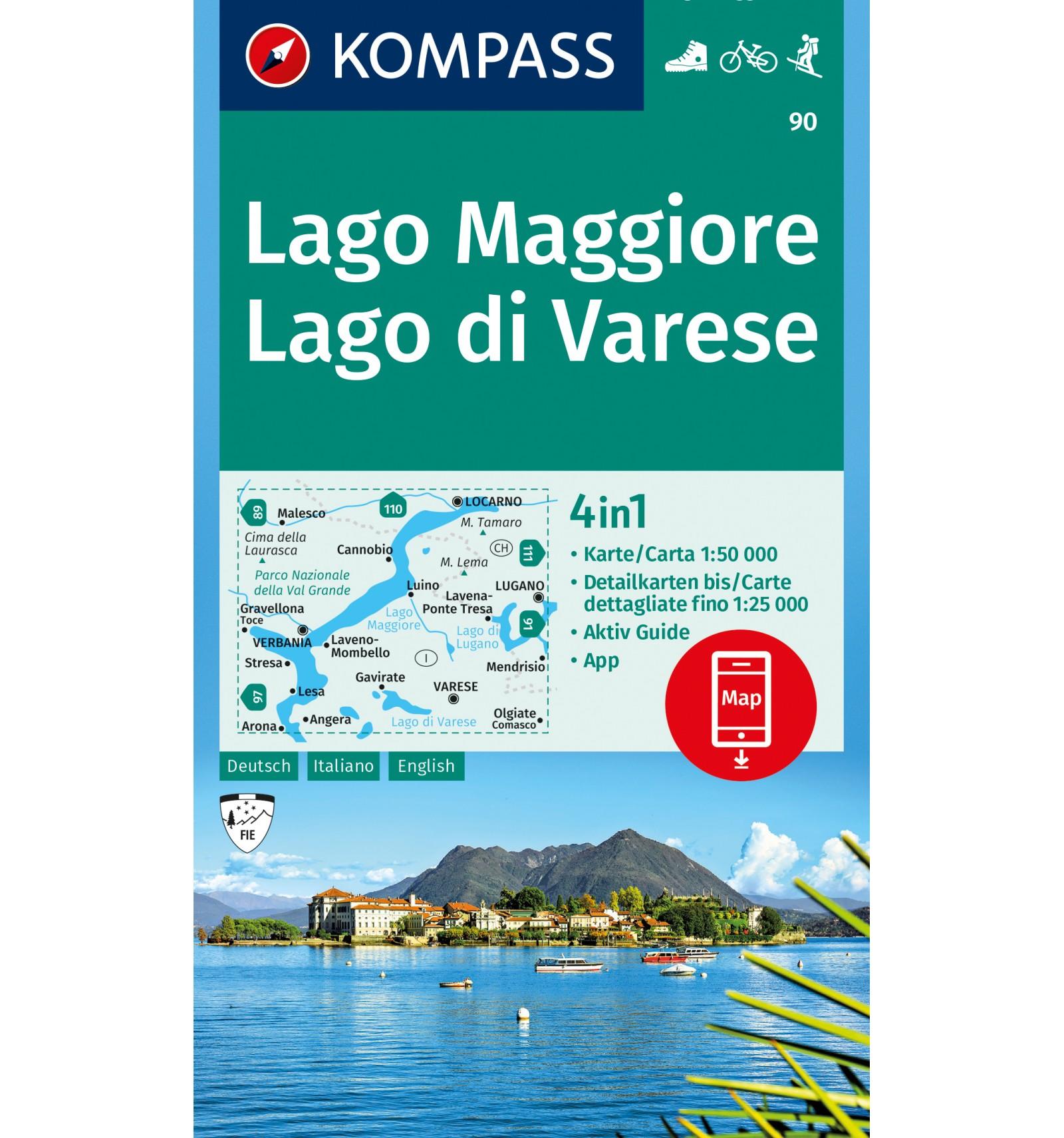 Lago Maggiore Karte Mit Orten.Lago Maggiore Lago Di Varese 1 50 000