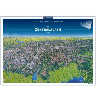 Die Zentralalpen Panoramakarte in der Rolle 75x55