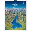 Gardasee Panoramakarte in der Rolle 55x75cm