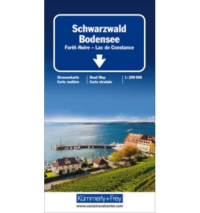 Straßenkarte Schwarzwald - Bodensee 1:200.000