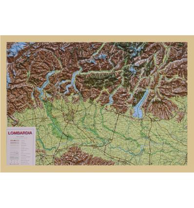 Carta di rilievo con cornice in legno Lombardia