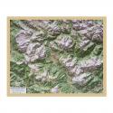 Carta di rilievo con cornice in legno Cortina d'Ampezzo