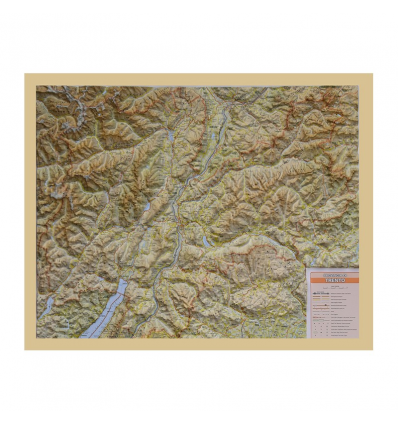 Reliefkarte mit Holzrahmen Trentino