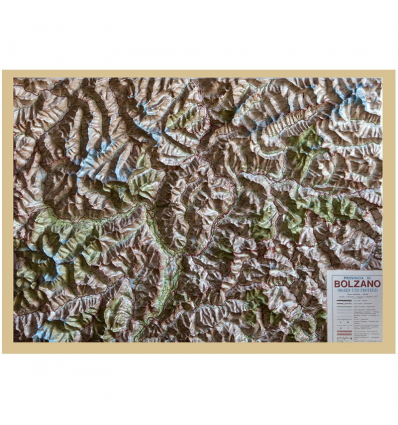 Reliefkarte mit Holzrahmen Südtirol